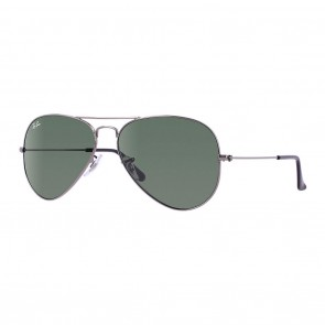 Ray-Ban AVIATOR LARGE 58mm Gunmetal Green Classic G-15 Sunglasses