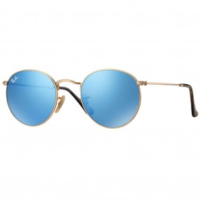 Rayban RB3447N ROUND METAL 50mm Gold Light Blue Gradient Flash Sunglasses