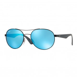 Ray-Ban RB3536 55mm Matte Black w/ Blue Mirror Sunglasses