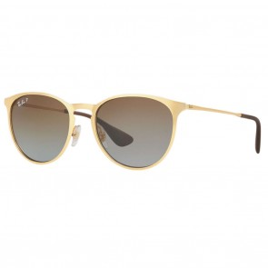 Ray-Ban RB3539 ERIKA METAL 54mm Gold Polarized Brown Gradient Sunglasses