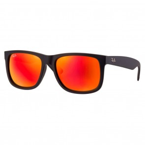 Ray-Ban RB4165 JUSTIN COLOR MIX 55mm Black Rubber Red Mirror Sunglasses
