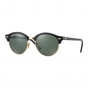 Ray-Ban Clubround 51mm Black Gold w/ Green Classic G-15 Sunglasses
