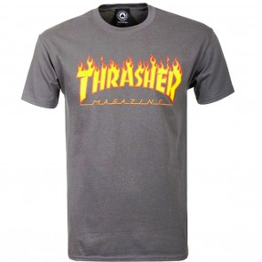 Thrasher Magazine Flame Logo T-Shirt in Charcoal Grey Front