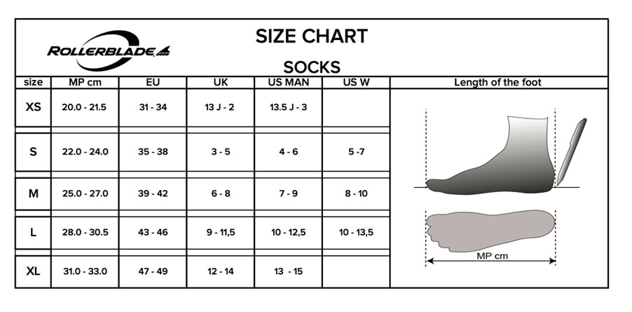 Rollerblade Sock Size Chart